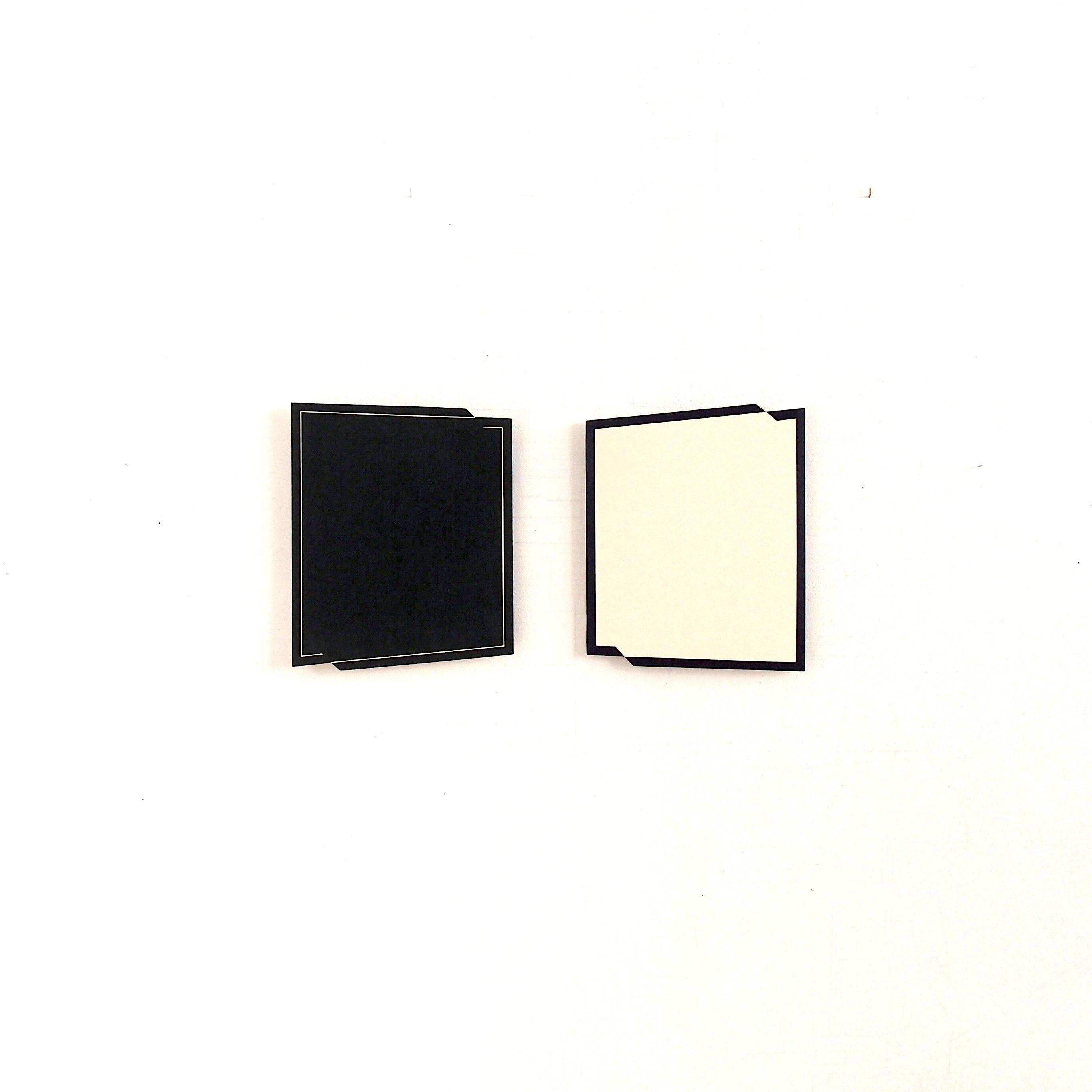 "Gerda Kruimer Post-Punatics 2X2 (""formal set""), 30x37,5cm, acrylics on wooden panel"
